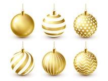 Grupo dourado brilhante das bolas da árvore de Natal Decoração do ano novo Estação do inverno Feriados de dezembro Cumprimentando ilustração do vetor
