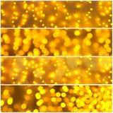 Grupo dourado da bandeira das luzes Foto de Stock Royalty Free