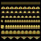 Grupo dourado de fitas do laço ilustração stock