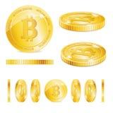 Grupo dourado detalhado realístico de 3d Bitcoins Vetor ilustração stock