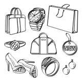 Grupo e coleção de compra dos bens de consumo Fotos de Stock Royalty Free