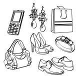 Grupo e coleção de compra dos bens de consumo ilustração do vetor