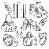 Grupo e coleção de compra dos bens de consumo ilustração royalty free