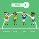 Grupo E dos jogadores de futebol ilustração do vetor