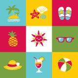 Grupo e sinais do ícone do verão Fotografia de Stock Royalty Free