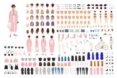Grupo elegante da criação da moça ou jogo de DIY Coleção das partes do corpo, roupa na moda, acessórios à moda, caras ilustração stock