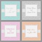 Grupo elegante do convite do casamento do vetor Cartões à moda bonitos w ilustração stock