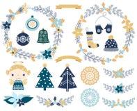 Grupo elegante do Natal com elementos do projeto ilustração royalty free