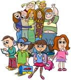 Grupo elemental de los alumnos de la historieta ilustración del vector