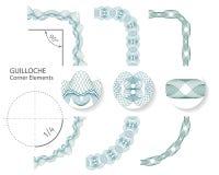 Grupo: Elementos sem emenda da beira do canto do Guilloche para o certificado ou o diploma, Ilustração do vetor Fotos de Stock