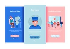 Grupo em linha do plano da educação ilustração stock