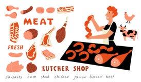 Grupo engraçado da garatuja da carne Mulher bonito dos desenhos animados, vendedor do mercado do alimento com produtos agrícolas  ilustração stock