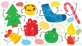 Grupo engraçado de caráteres do Natal Fotos de Stock Royalty Free