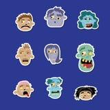 Grupo engraçado do ícone do avatar do zombi Fotografia de Stock Royalty Free