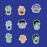 Grupo engraçado do ícone do avatar do zombi Fotos de Stock Royalty Free