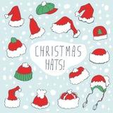 Grupo engraçado do chapéu do Natal Fotografia de Stock