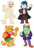 Grupo engraçado do Dia das Bruxas dos desenhos animados. Imagens de Stock Royalty Free
