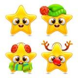 Grupo engraçado do Natal das emoções da estrela Fotos de Stock Royalty Free