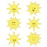 Grupo engraçado do sol dos desenhos animados Imagens de Stock