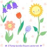 Grupo engraçado do vetor das flores da garatuja Fotografia de Stock Royalty Free