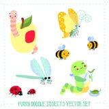 Grupo engraçado do vetor de insetos da garatuja do estilo dos desenhos animados Fotos de Stock