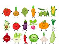 Grupo engraçado dos desenhos animados de vegetais diferentes Vegetais de Kawaii S ilustração royalty free
