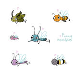 Grupo engraçado dos desenhos animados do inseto Fotografia de Stock