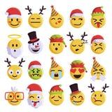 Grupo engraçado e bonito do emoji do Natal do feriado Imagens de Stock Royalty Free