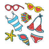 Grupo engraçado da garatuja do verão Imagem de Stock