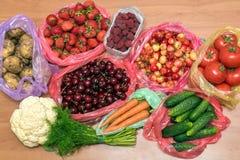Grupo enorme de legumes frescos e de frutas Fotos de Stock Royalty Free