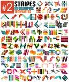 Grupo enorme dos moldes infographic #2 da listra Fotografia de Stock Royalty Free