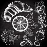 Grupo esboçado café da manhã ilustração stock