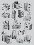 Grupo esboçado da câmera do vintage Fotografia de Stock