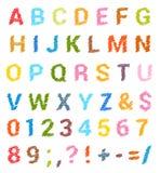Grupo esboçado do alfabeto Letras principais e números ilustração do vetor