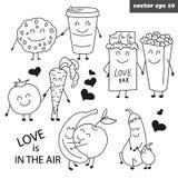 Grupo esboçado tirado mão de frutos engraçados ilustração stock