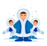 Grupo eskimo de sorriso dos povos Fotos de Stock Royalty Free
