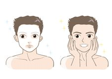 Grupo estético dos cuidados com a pele dos homens - tipo do sorriso ilustração do vetor