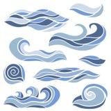 Grupo estilizado das ondas ilustração stock