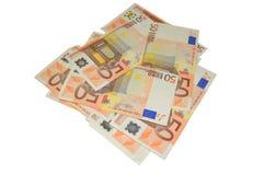 Grupo euro de cincuenta billetes de banco Fotos de archivo