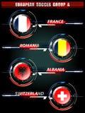Grupo europeo A del fútbol Foto de archivo libre de regalías