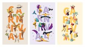 Grupo exótico da bandeira da tipografia do caráter do carnaval de Brasil Da dança Latino da mulher do biquini da pena música colo fotografia de stock royalty free