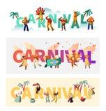 Grupo exótico do cartaz da tipografia do traje do carnaval de Brasil Parada de Wing Bikini Latino Woman Colorful O homem joga a m imagens de stock