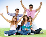 Grupo Excited de estudantes Fotos de Stock Royalty Free
