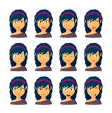 Grupo fêmea da expressão do avatar Imagens de Stock Royalty Free