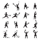 Grupo fêmea do ícone das posturas do tênis Foto de Stock Royalty Free