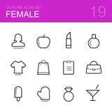 Grupo fêmea do ícone do esboço do vetor Imagem de Stock
