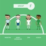 Grupo F dos jogadores de futebol ilustração stock