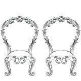 Grupo fabuloso de Rich Rococo Chairs Fotografia de Stock Royalty Free
