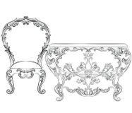 Grupo fabuloso de Rich Rococo Furniture ilustração stock