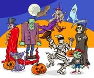 Grupo fantasmagórico de los caracteres de la historieta del día de fiesta de Halloween stock de ilustración